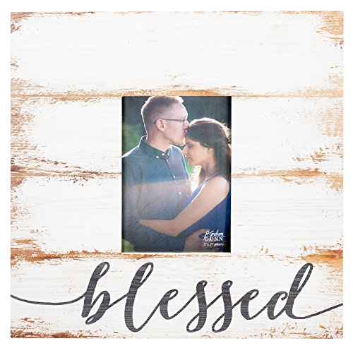 Blessed Frame - P. GRAHAM DUNN Blessed Script Design White Wash 5 x 7 Solid Pine Wood Tabletop Wall Plaque Photo Frame