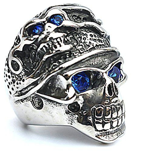 Men's Stainless Steel Finger Rings Gothic Classic Cz Heart Cross Skull Biker Ring Blue Eyes 2.5cm Size - Sunglasses Nyc Cheap