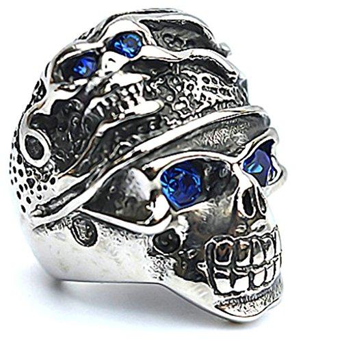 Men's Stainless Steel Finger Rings Gothic Classic Cz Heart Cross Skull Biker Ring Blue Eyes 2.5cm Size - Sunglasses Cheap Nyc