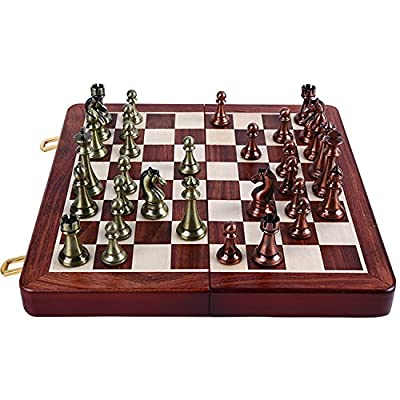 Agirlgle International Chess Set with folding wooden chess board and Classic Handmade Standard pieces