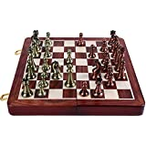 Agirlgle International Chess Set with Folding Wooden Chess Board and Classic Handmade Standard Pieces Metal Chess Set…