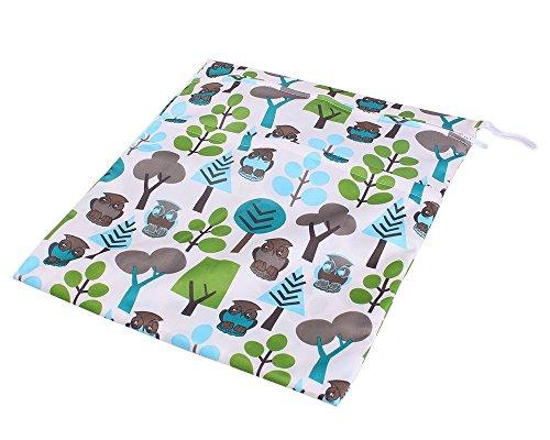 Primi 1pc impermeable doble cremallera reusble húmedo y seco bolsa de pañales de bebé (diseño de búho)