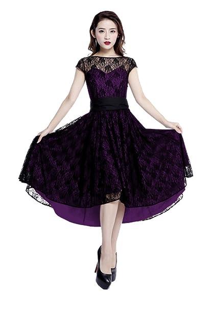 Plus Size Purple Gothic Retro Hi Lo Lace Short Sleeve Dress at ...