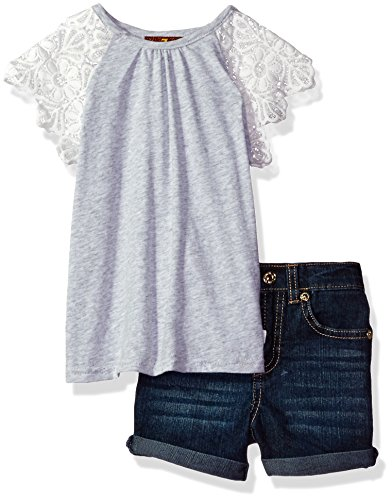 - 7 For All Mankind Girls' Toddler 2 Piece Lace Sleeve Top and Denim Short Set, Heather Grey 2T