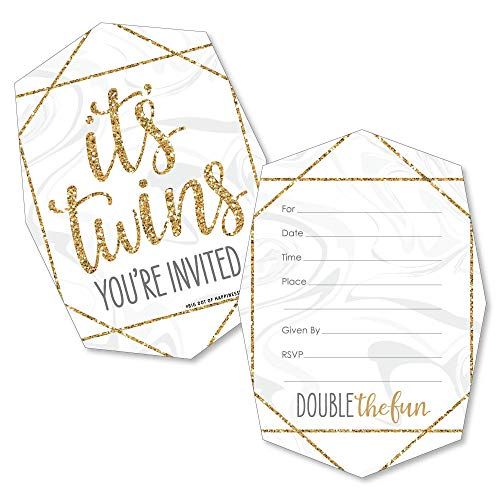 It's Twins - Shaped Fill-in Invitations - Gold Twins Baby Shower Invitation Cards with Envelopes - Set of 12]()