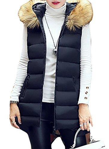 ARRIVE GUIDE Women's Faux Fur Hood Zipper-Up Hooded Midi Puffer Down Vest Black 4X-Large