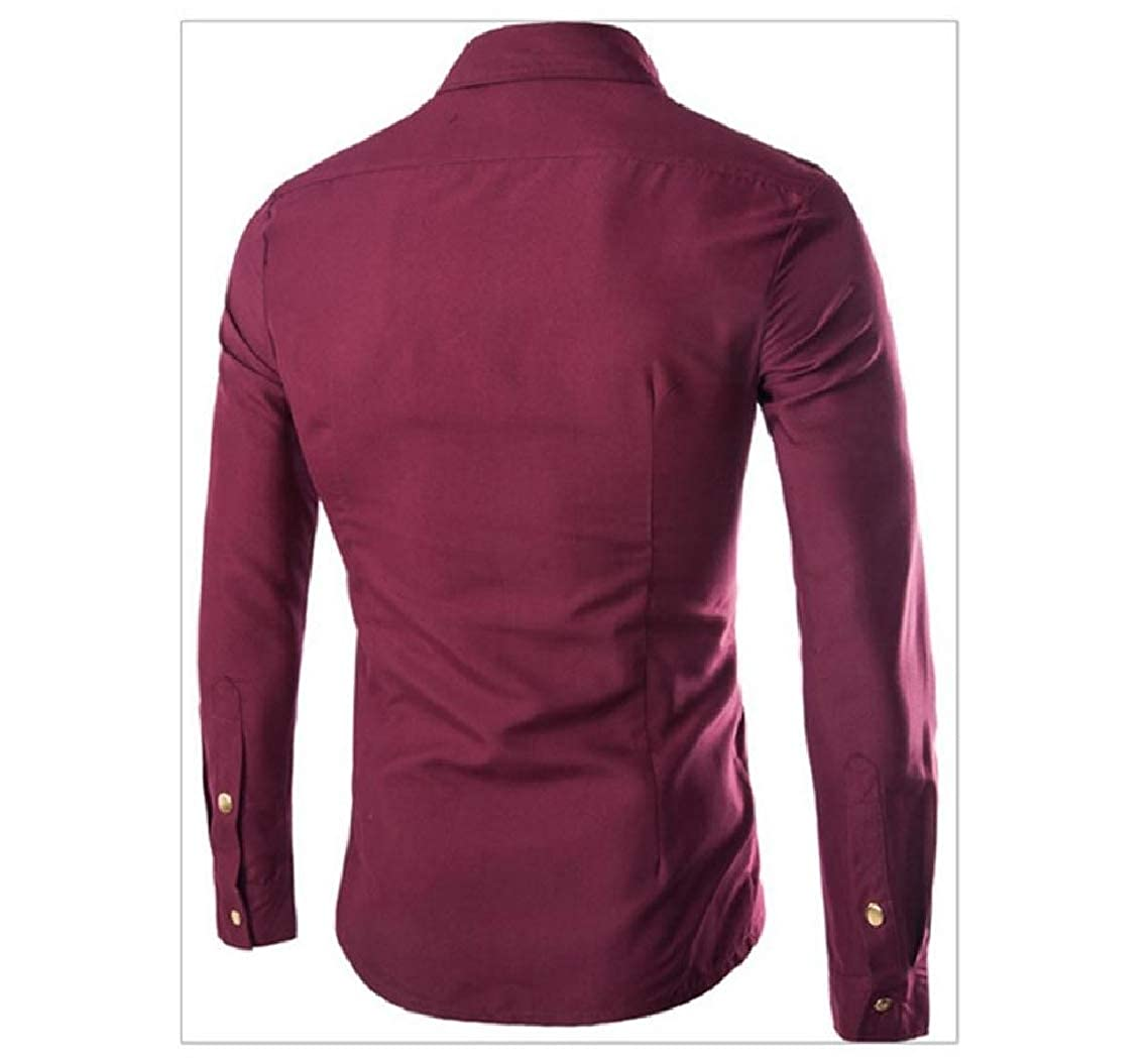 Godeyes Mens Fitted Long Sleeves Button Up Zip Solid Collared Dress Shirts