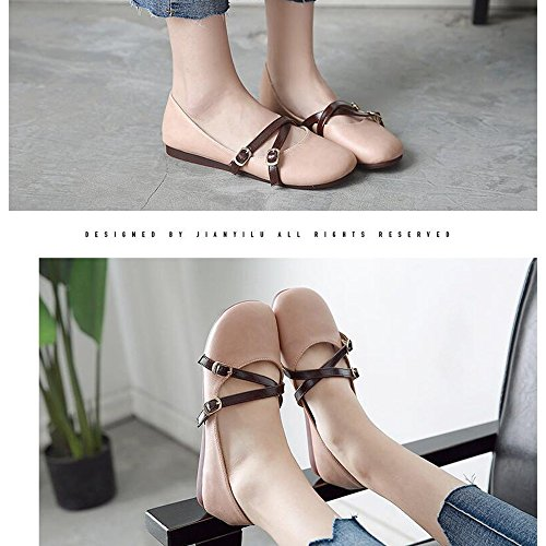 BOOTS HAIZHEN Ladies Girls Booties lady Shoes PU Summer Fall Comfort Flats Flat Heel Round Toe For Casual Office & Career For 18-40 Years Old Pink BJkol