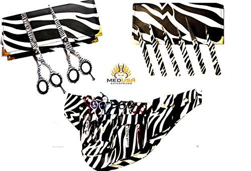 New J2 White Zebra Barber Hairdressing Shears + Scissors Holster + Eyebrow Tweezers Kit For Professionals & - Shear Kit Holster
