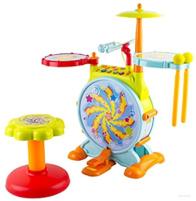 WolVol Kids Fun Electronic Drum Set with Adjustable Sing-along Microphone and Sitting Stool - Tons of different functions, Bass Drum and Pedal (Adjustable Volume)