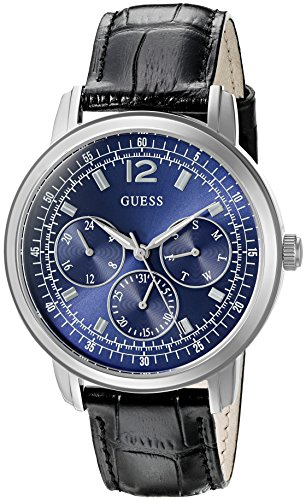 GUESS Men's U0790G2 Dressy Silver-Tone Stainless Steel Watch with Multi-function Dial and Black Strap Buckle