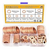 Sutemribor 150PCS 8 Sizes Copper Metric Sealing Washers Flat Washers Assortment Kit