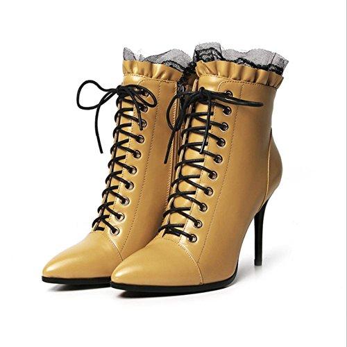 encaje Best Martin 4U® 9CM de Boots yellow Botines estrecha punta mujer de Zapatos de cuero cordones genuino de tacones PgAq71nWP
