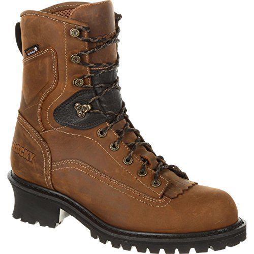 Rocky Men's SawBlade 9'' Composite Toe Waterproof Logger Work Boots, Brown, 8 W ()