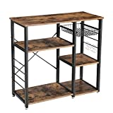 VASAGLE Industrial Kitchen Baker's Rack, Coffer Bar, Microwave Oven Stand Metal Frame, Wire Basket 6 Hooks Mini Oven, Spices Utensils, Simple Assembly Wood Look UKKS90X