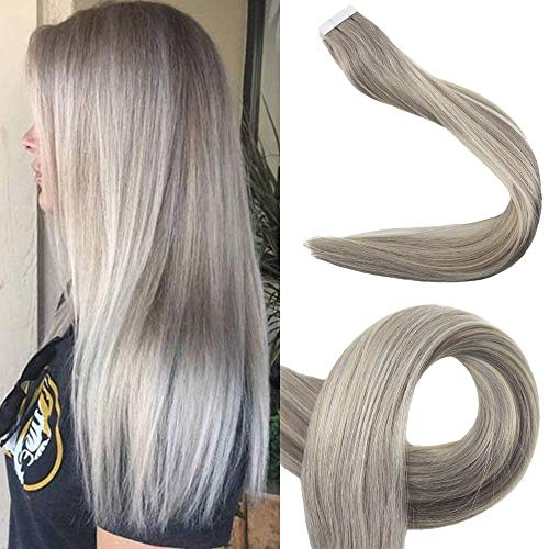 Full Shine 20inch Real Human Hair Tape in Extensions Color #19A Fading to #60 Remy Tape in Hair Extensions 2.5g Per Package 50gram Per Package Real Hair Tape in Extensions
