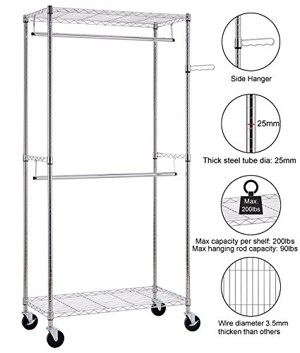Finnhomy Heavy Duty Rolling Garment Rack Clothes Hangers with Double Rods and Shelves, Thicken Steel Tube, Chrome