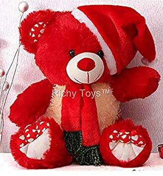 Buy richy toys santa teddy bear plush stuffed soft toys animals buy richy toys santa teddy bear plush stuffed soft toys animals birthday gift for kids 38cm red online at low prices in india amazon voltagebd Choice Image