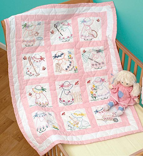 - Jack Dempsey Needle Art 30021 Nursery Girls Quilt Blocks, 12 Quilt Blocks, 9-Inch-by-9-Inch, White