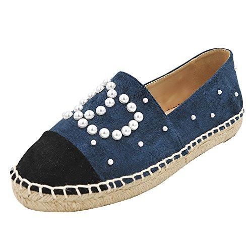 a con paglia perla piatto blu lazy 38 fondo e singola perla scarpe donna pigro testa decorato ossa ossa vento fragrante A tonda FONDO PIATTO scarpe scarpe di piccolo wqzUz