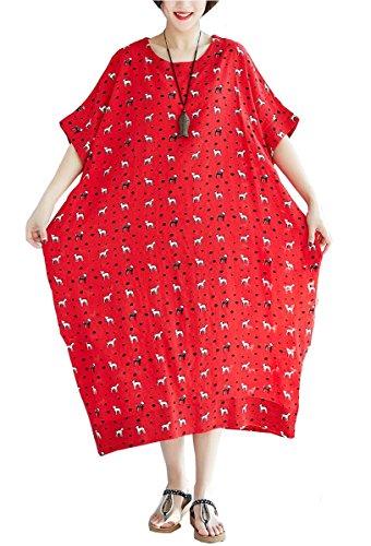 Plissee A-red Einheitsgröße Damen Model Kleid Santwo