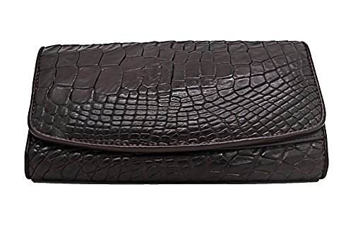 (D'SHARK Crocodile Skin Leather Trifold Long Wallet Clutch Bag for Women (Dark Brown))