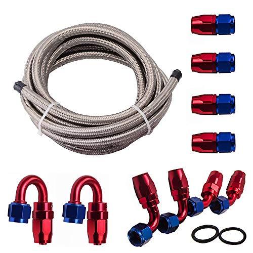 Cozyel 6AN Nylon Steel Braided CPE Fuel/Oil/Gas Line Kit (Silver,16 Feet Length)+ AN6 Hose Fitting