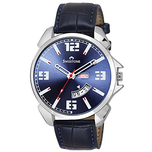 Swisstone WT95-BLUE Blue Dial Blue Leather Strap Day Date wrist watch for Men/Boys