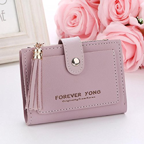 Purple Purse Zipper Coin Wallet Letters Card ShenPr Handbag Short Women Tassel Clearance Holders 6RnS8U7