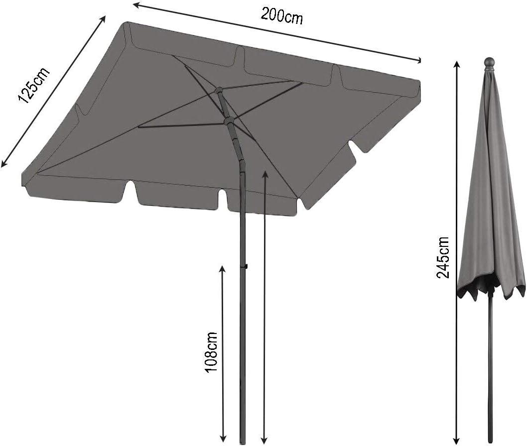 Pieghevole Rettangolare 2 x 1,25 m Ombrellone da Balcone Sabbia con Custodia Protettiva QUICK STAR