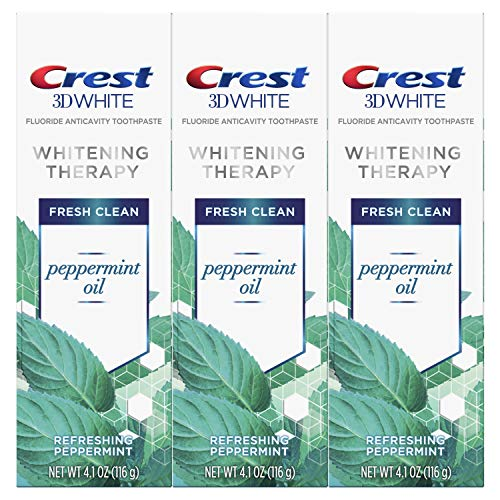 (Crest 3D White Whitening Therapy Toothpaste, Peppermint Oil, 4.1 Ounce, Pack of 3)