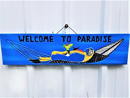 All Seas Imports 39'' x 9.25'' HANDCARVED & PAINTED WOOD WELCOME TO PARADISE WITH PARROT IN HAMMOCK BEACH DECOR SIGN! by All Seas Imports