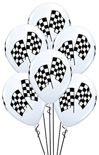 Qualatex Checkered Racing Flags Biodegradable Latex Balloons, 11-Inch (12-Units)]()