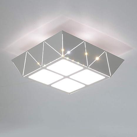 HAWEE Elegante Plafón LED 12W Moderna Lámpara de Techo LED Luz de Techo Cuadrada Hierro Diseño Tallado Hueco para Dormitorio, Pasillo, Sala de Estar, ...