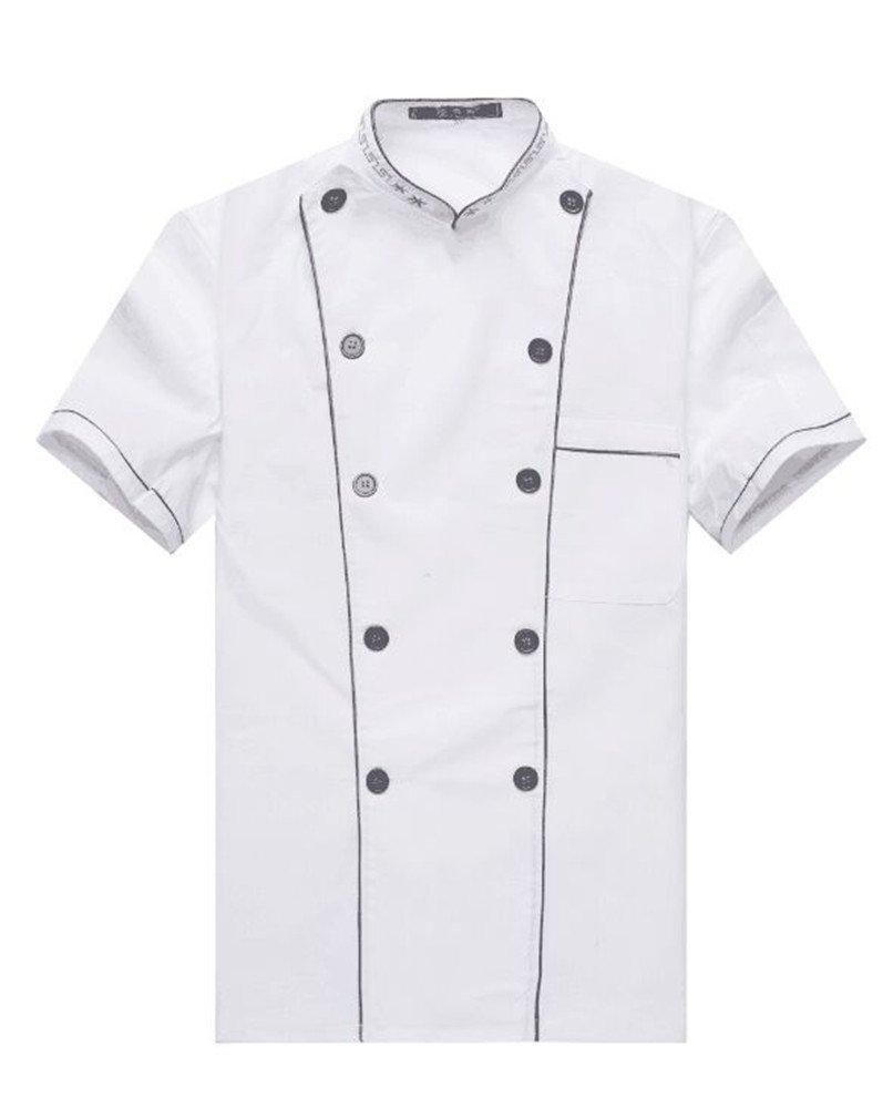 WAIWAIZUI Fashion Chef Jackets Waiter Coat Short Sleeves