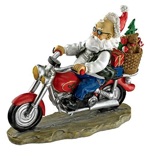 Design Toscano Garden Gnome Statue - Old School Father Christmas Biker Gnome - Santa Gnome - Wild Gnome Statues - Gnome on Motorcycle - Santa On Motorcycle