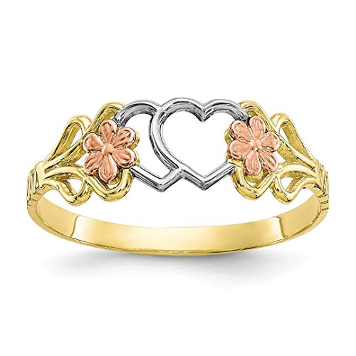 10k Two Tone Yellow Gold Double Heart Band Ring Size 6.00 S/love Fine Jewelry Gifts For Women For ()