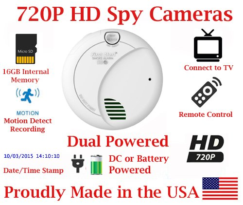 SecureGuard HD 720p Home & Office Smoke Detector Sensor Residential Spy Camera Covert Hidden Nanny Camera Spy Gadget (New Cost Efficient Line) by AES Spy Cameras
