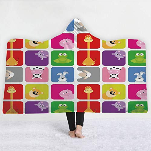 HiDecorRoom 3D Printing Hooded Blanket Double Layer Flannel, 50Inch X 60Inch