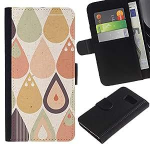 Paccase / Billetera de Cuero Caso del tirón Titular de la tarjeta Carcasa Funda para - Drop Raindrop Tear Pattern Pastel Shape - Samsung Galaxy S6 SM-G920