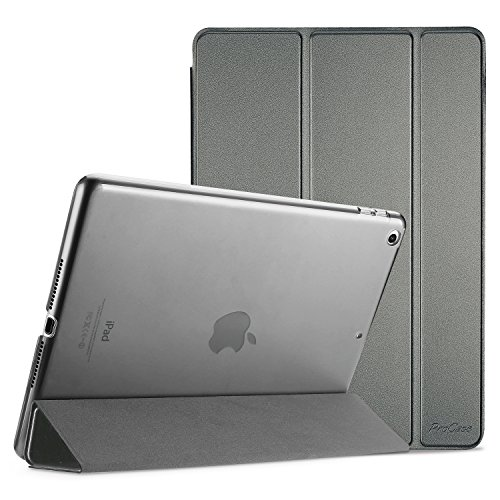 ProCase iPad 9.7 Case 2018 iPad 6th Generation Case / 2017 iPad 5th Generation Case - Ultra Slim Lightweight Stand Case with Translucent Frosted Back Smart Cover for Apple iPad 9.7 Inch -Metallic