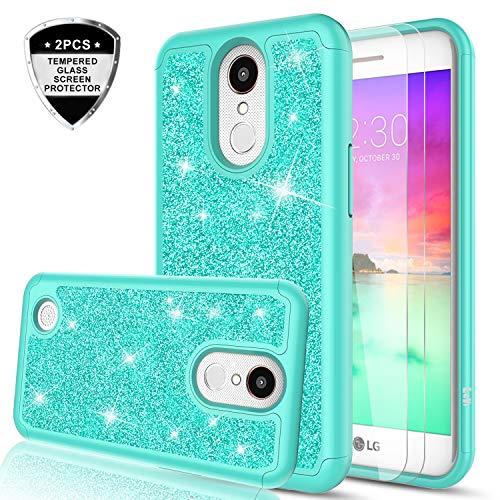 LG K20 V Case, LG K20/ LG LV5/ LG K20 Plus/LG K10 2017 / LG Grace/Harmony Case with Tempered Glass Screen Protector,LeYi Glitter Bling Girly Women Hybrid Heavy Duty Phone Case for LG K20 V TP Mint