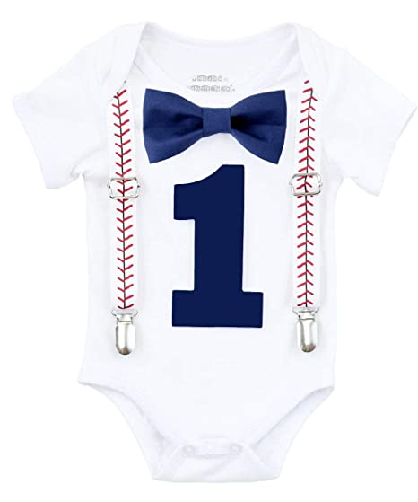 Noahs Boytique Baby Boy First Birthday Outfit Baseball Theme Party Shirt Navy Bow Number One