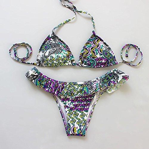 YONGYI Europa y el elegante y playa verano mullidas volantes triangular pack suave, t pantalones bikini dos piezas Bikini split Violeta