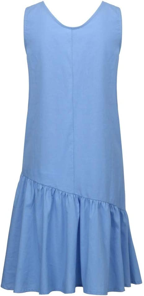 Summer Dresses For Women Clearance Summer Solid Pockets Pleated O Neck Sleeveless Casual Knee-Length Dresses For Anniversary,Party,Valentines Day Sky Blue,M