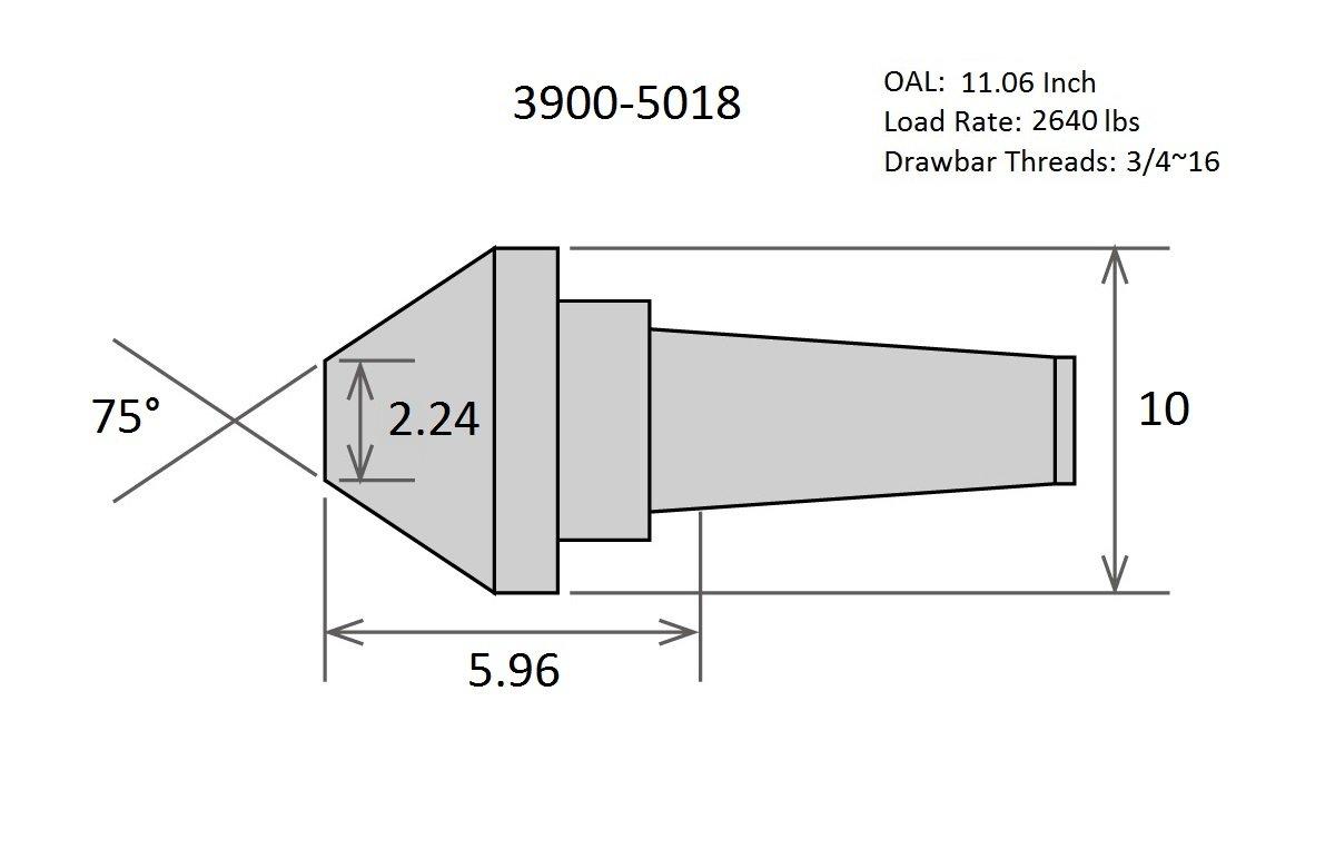 10'' MT5 75 DEGREE BULL NOSE LIVE CENTER (3900-5018)