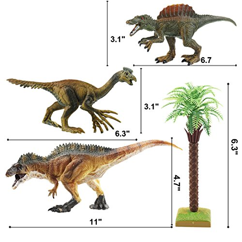 """BooTaa Large Dinosaur Toys Set, 12"""" Acrocanthosaurus Dino Figures, Jurassic Park Educational Gift for Kids Boys Toldders Girls Age 3 4 5 6, Birthday Party Game Dino Toy Pack of 4"""