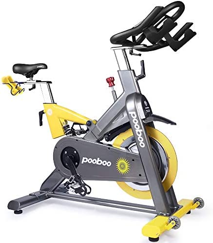 L NOW Indoor Cycling Bike Exercise Bike Magnetic Resistance Stationary Bike Commercial Standard Yellow-Gray