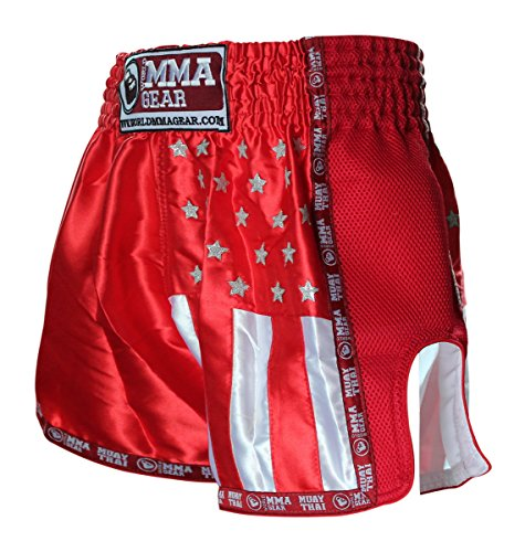 PREMIUM MUAY THAI SHORTS BY World MMA gear Handmade retro - Kickboxing, MMA, Thai Boxing (Red, (Thai Kickboxing Shorts)