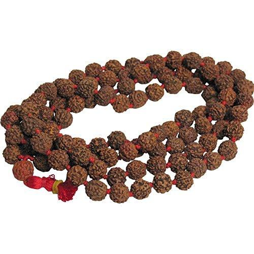 Padma Craft 10mm 108 Rudraksha 5-Face Beads Prayer Yoga Meditation Japa Mala Shiva Energy Red Knotted Rosary